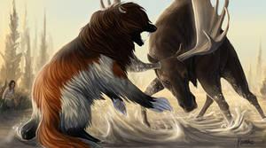 Misty Morning Moose Hunt by KJfromColors