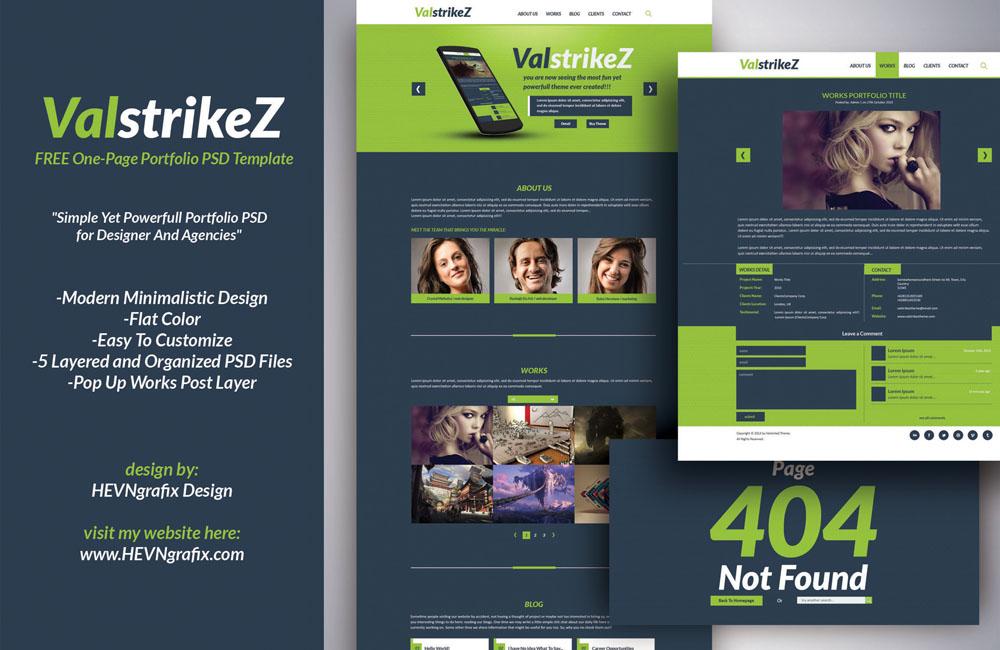 [FREEBIE] ValstrikeZ Portfolio Web PSD Template by HEVNgrafix
