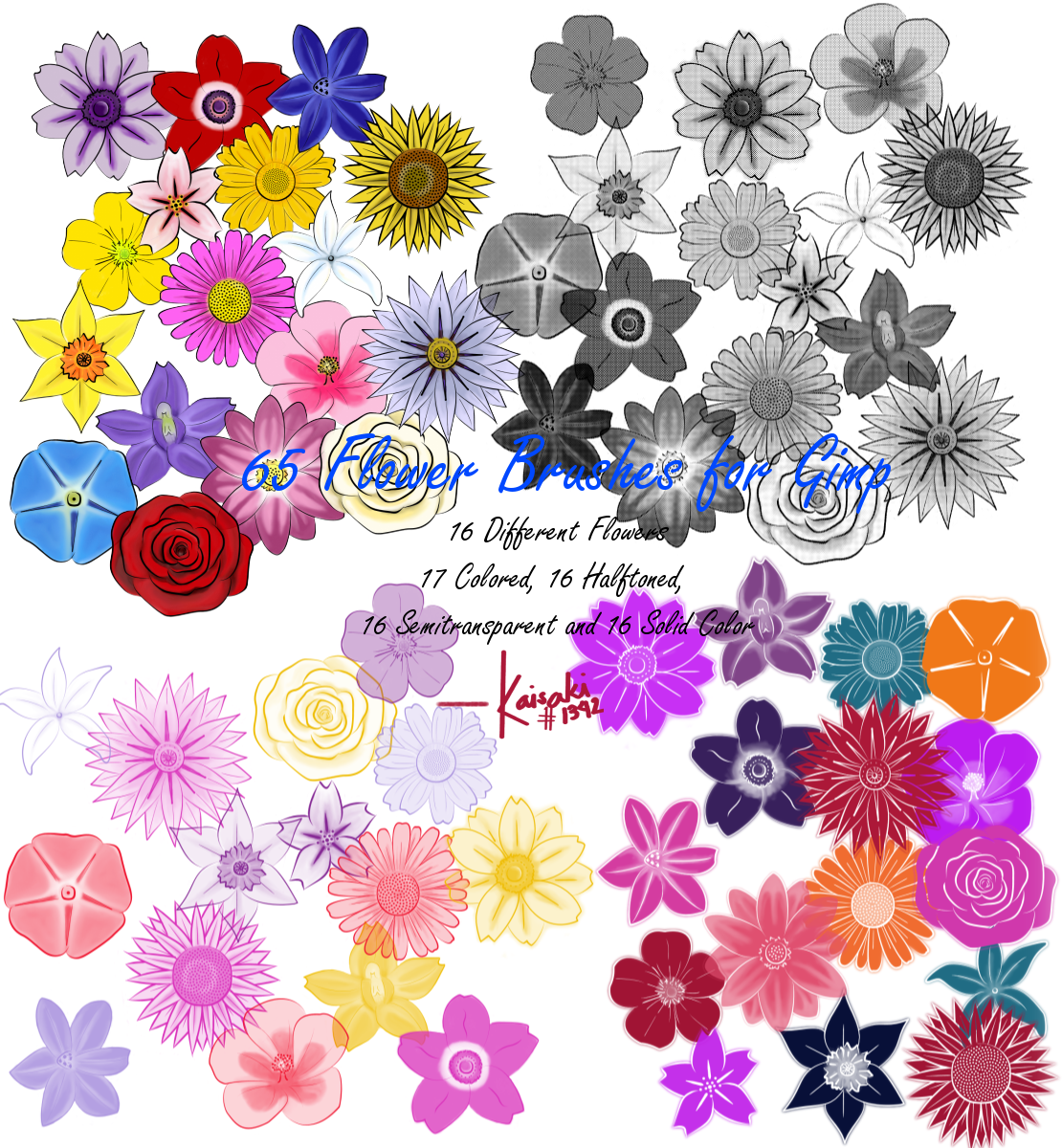 Flower Brushes for GIMP by kaichi1342