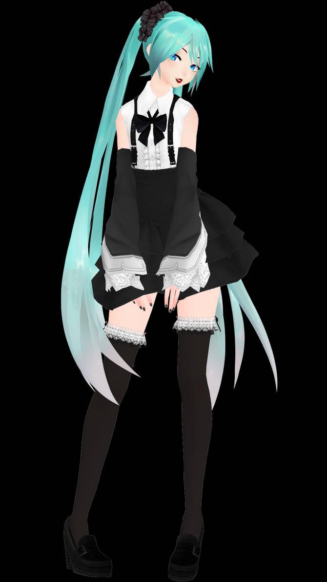[MMD Model Dl!] YYB Black Dress Miku by paprika1423 on