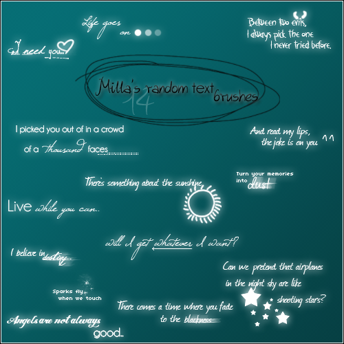 Milla's random text brushes by Millacious
