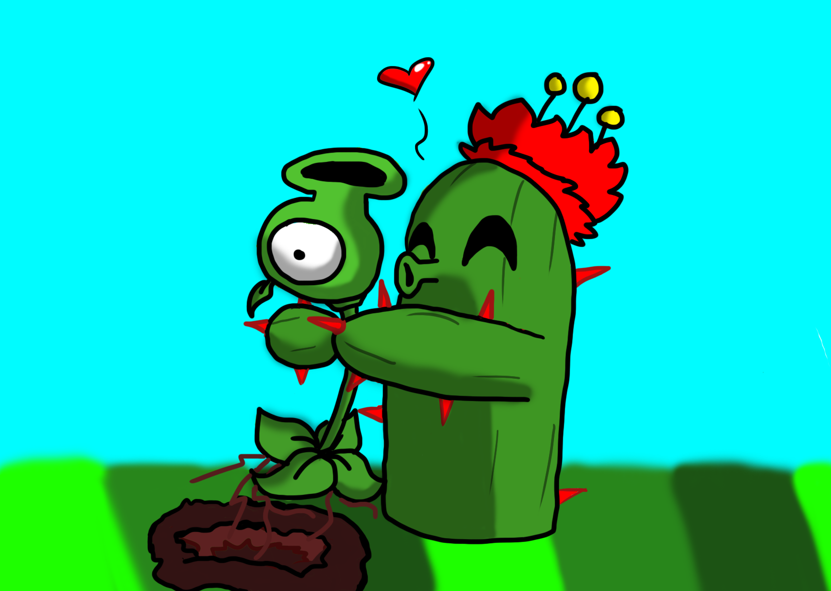 Plants VS Zombies Peashooter and Cactus by