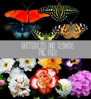 Butterflies and Flowers PNG by IrisFerrara