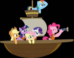 Mane Six On A Boat by Jeatz-Axl