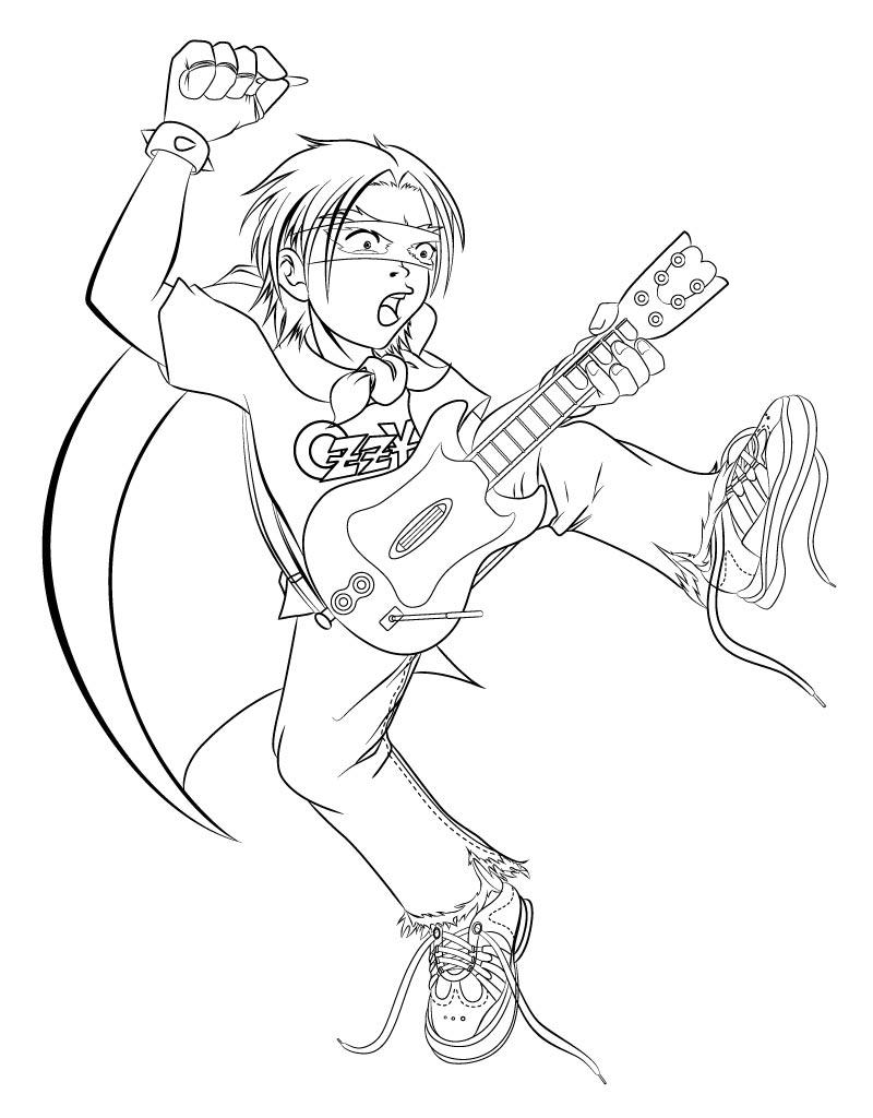 The rock band kiss free coloring pages for Rock band coloring pages