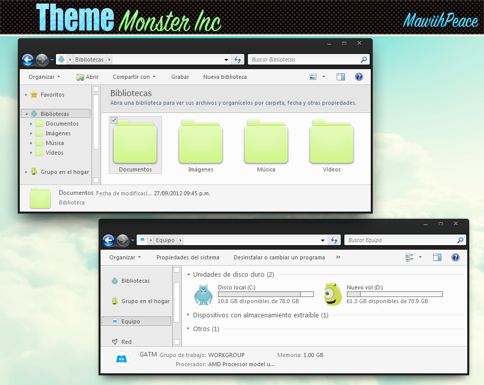 Theme Iconpackager - Monster Inc. by lMawiihPeace