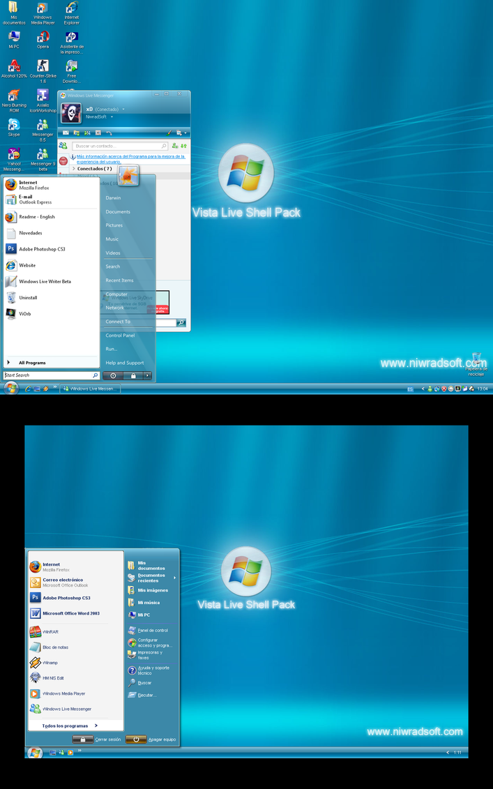 Vista live shellpack 2 51 blue edition for xp adilans
