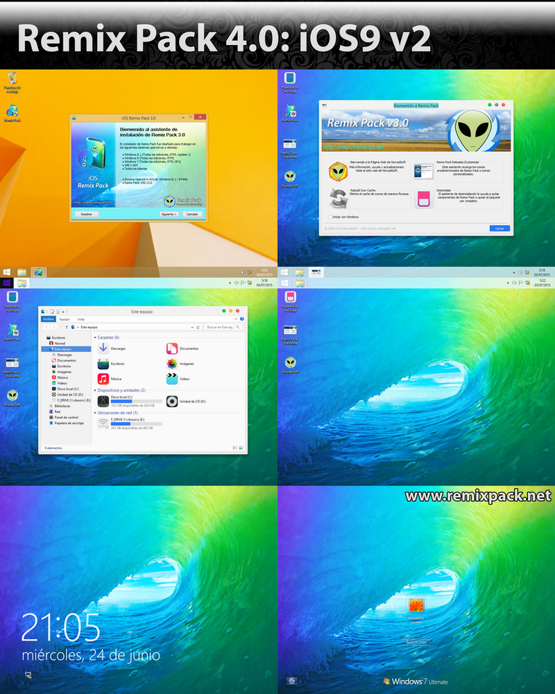 iOS9 on Remix Pack 4.0 (Modifiable Pack) by Niwradsoft