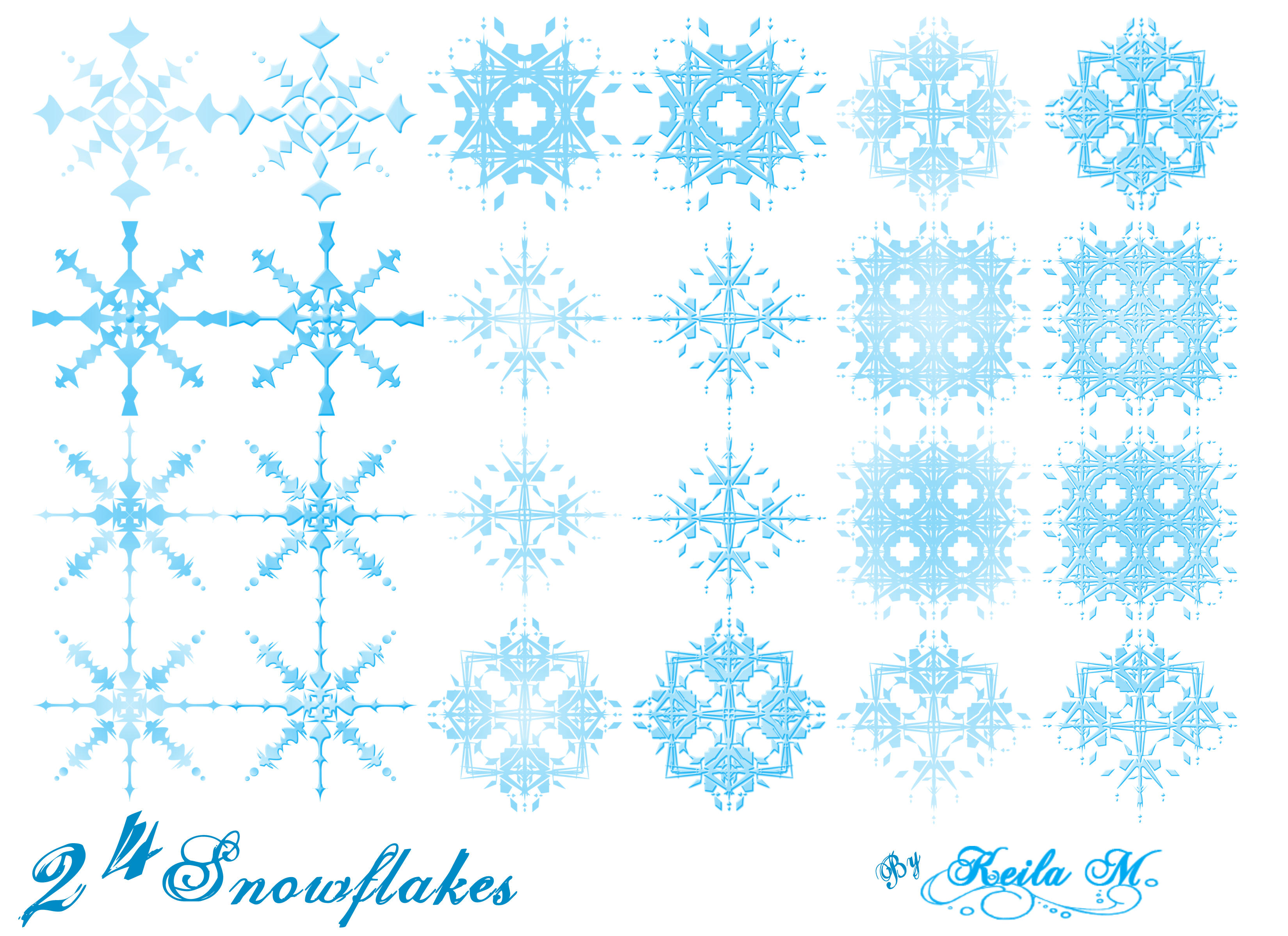 24 Snowflake Brushes by 0-oLaChischiso-0