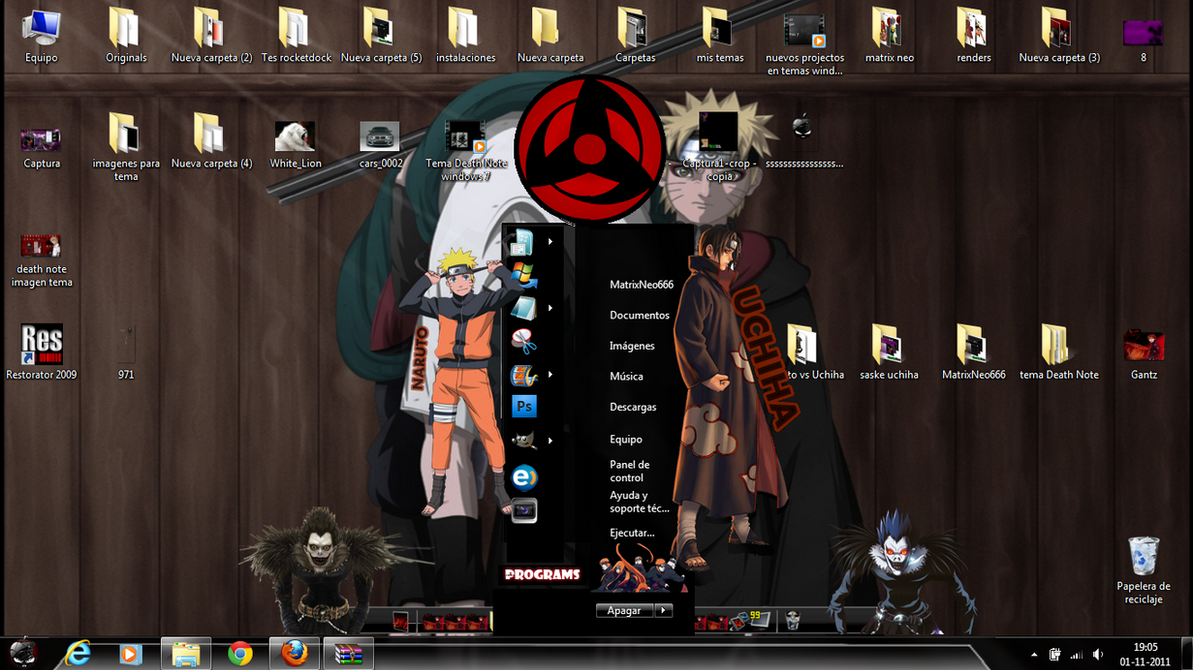 Tema Naruto vs Uchiha windows 7 by MatrixNeo666