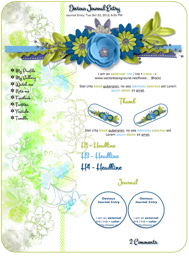 Blue Green Flower Journal by Inconcabille