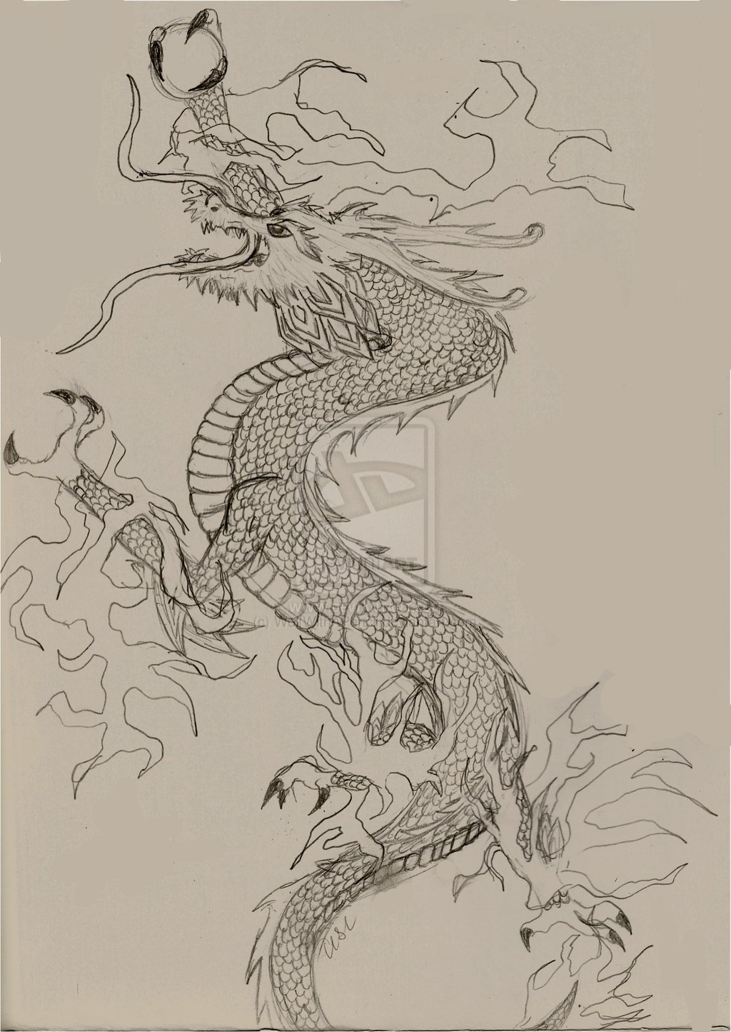 Chinese Fire Dragon by WolfWithAPencil on DeviantArt