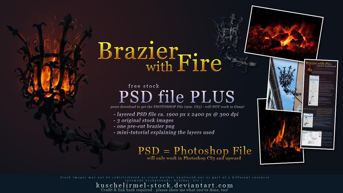 Brazier with Fire - PSD Plus by kuschelirmel-stock