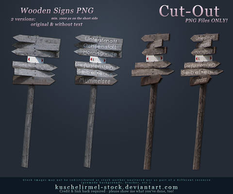 Wooden Signs Cut-Out PNG