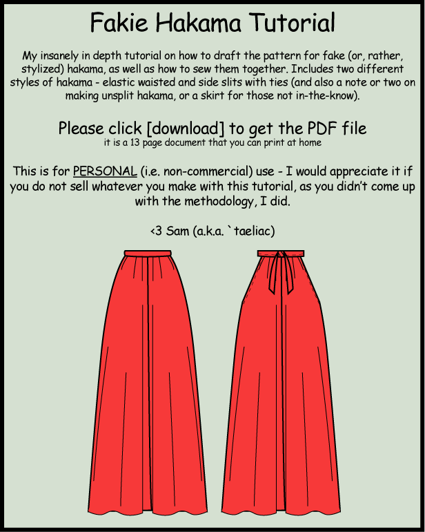 Tutorial: Make your own hakama by taeliac on DeviantArt