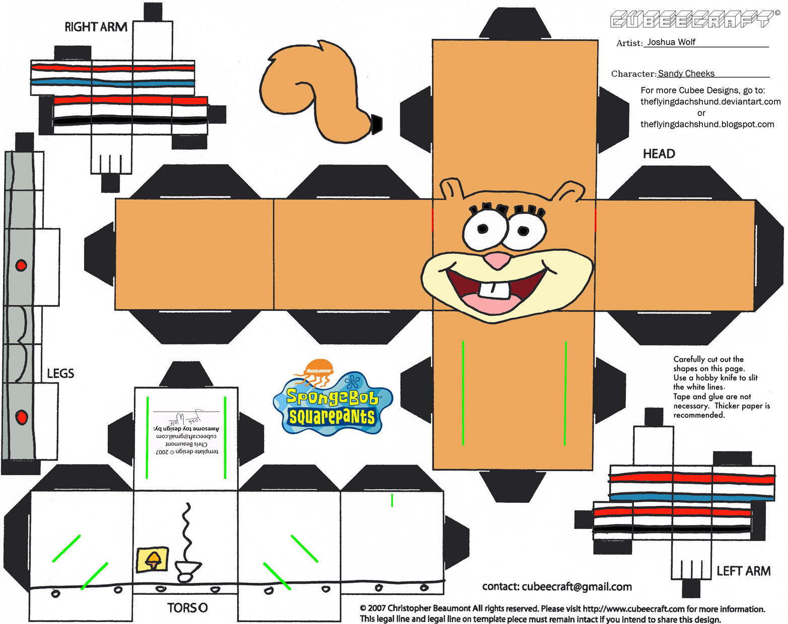 Ss sandy cheeks cubee by theflyingdachshund on deviantart for Cut out character template