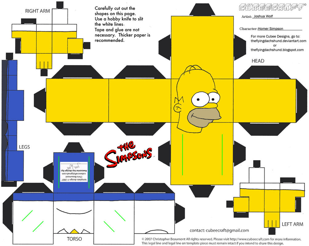 Simpsons1: Homer Simpson Cubee by TheFlyingDachshund
