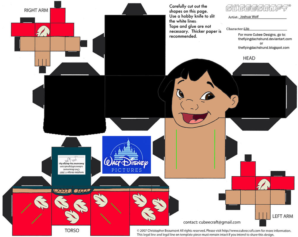 cut out character template - dis8 lilo cubee by theflyingdachshund on deviantart