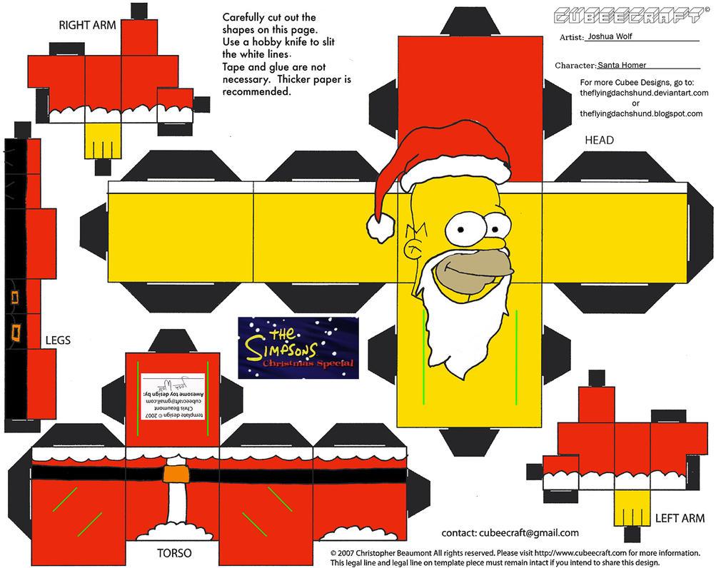 X-Mas16.5: Santa Homer Cubee by TheFlyingDachshund