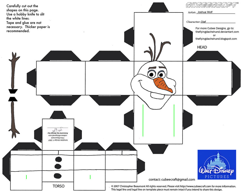 Dis29 Olaf Cubee 458334999 on Shapes Coloring Pages Daily Com