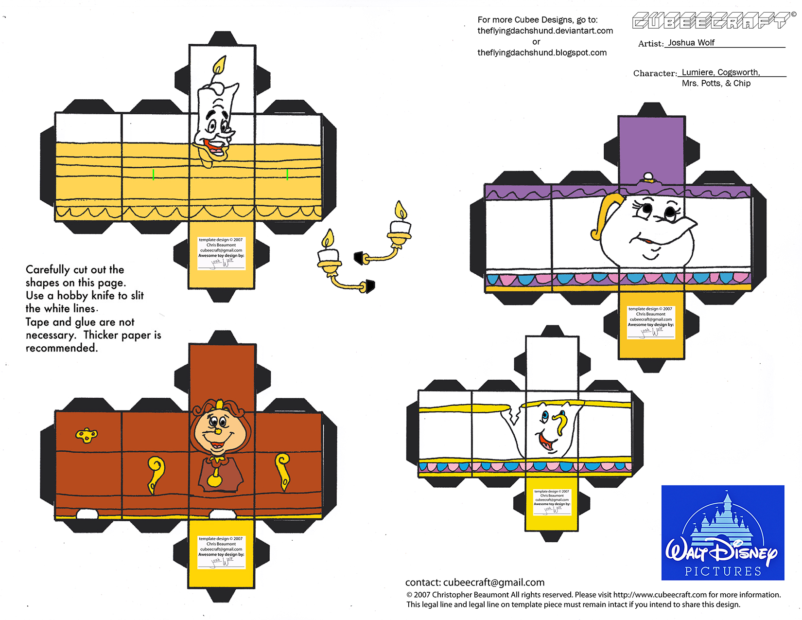 Dis44: Lumiere, Cogsworth, Mrs Potts, Chip Cubees