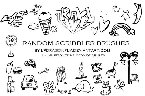 random scribbles brushes