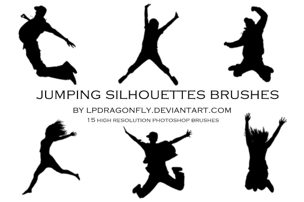 jumping silhouettes brushes