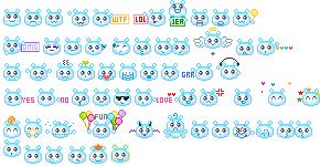 55 blue animated emoticons by creativesplash