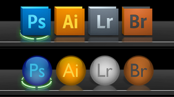 Round shiny Adobe dock icons by digitalformula