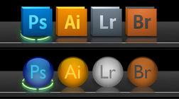 Round shiny Adobe dock icons