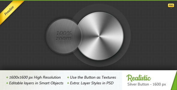 Realistic Silver Button - 1600 px by GranthWeb