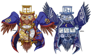=OKAMI=  twin owl brothers Lechku and Nechku Pixel