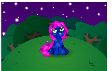Crystal Pony Stargazing In a Forest Clearing by TheLordofPies