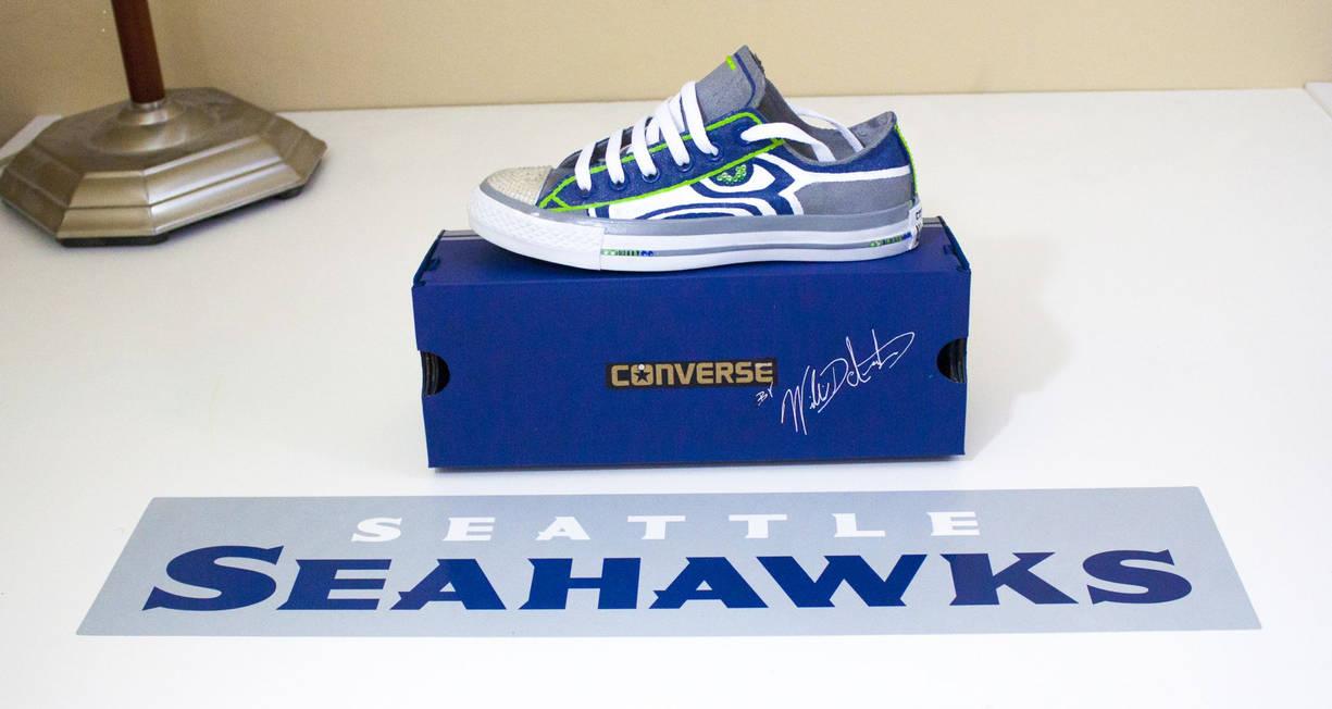Seattle Seahawks custom painted Chuck