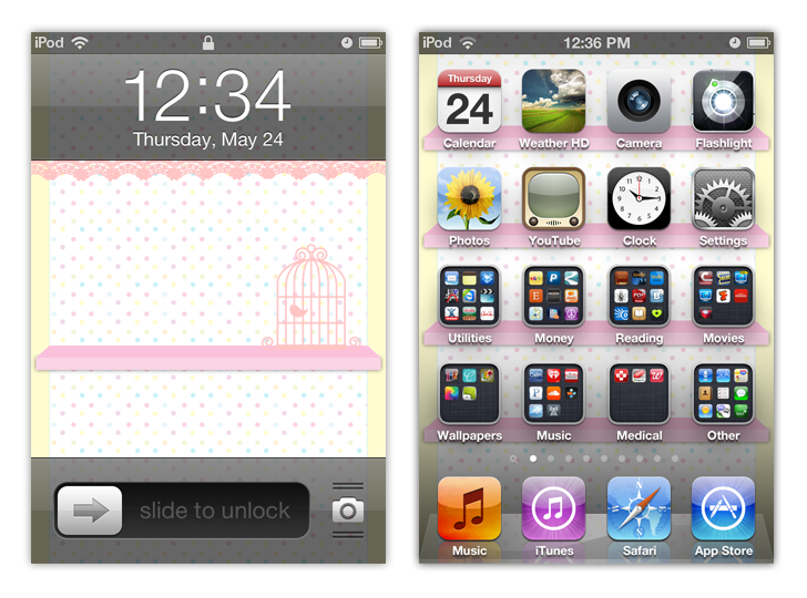 Ipod Iphone Polka Dot Birdie App Shelf Wallpaper By Sleepy