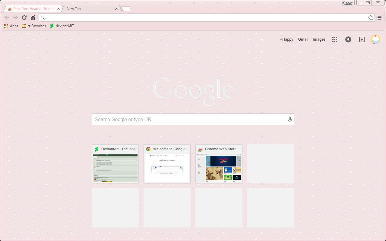 Pink Pixel Hearts - Google Chrome Theme