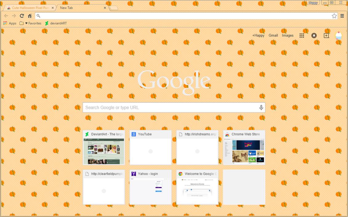 Halloween Pixel Pumpkins - Google Chrome Theme by Sleepy