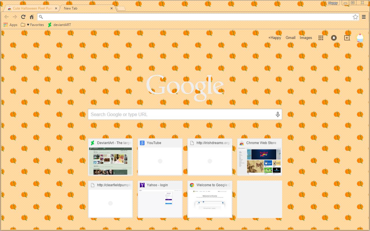 halloween pixel pumpkins google chrome theme by sleepy stardust on