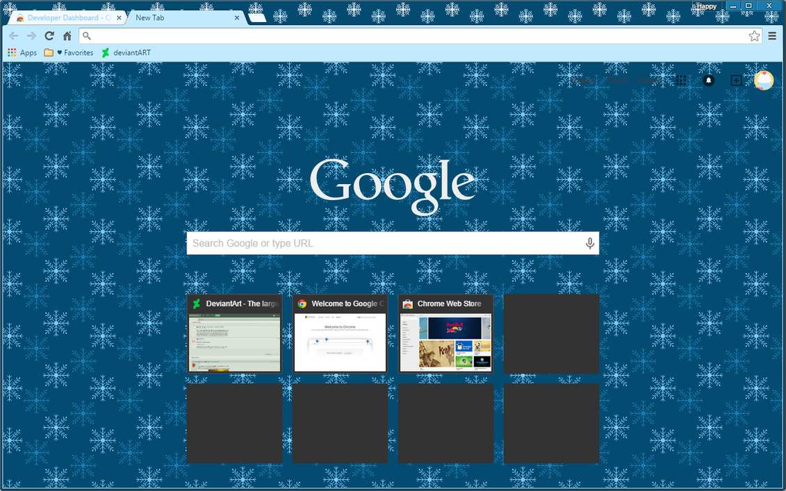 Christmas winter snowflake google chrome theme by sleepy - Winter theme chrome ...
