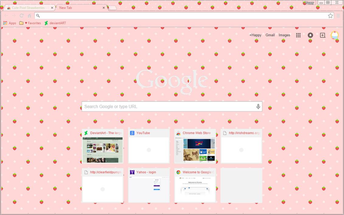 Google themes store - Strawberry Polka Dot Google Chrome Theme By Sleepy Stardust