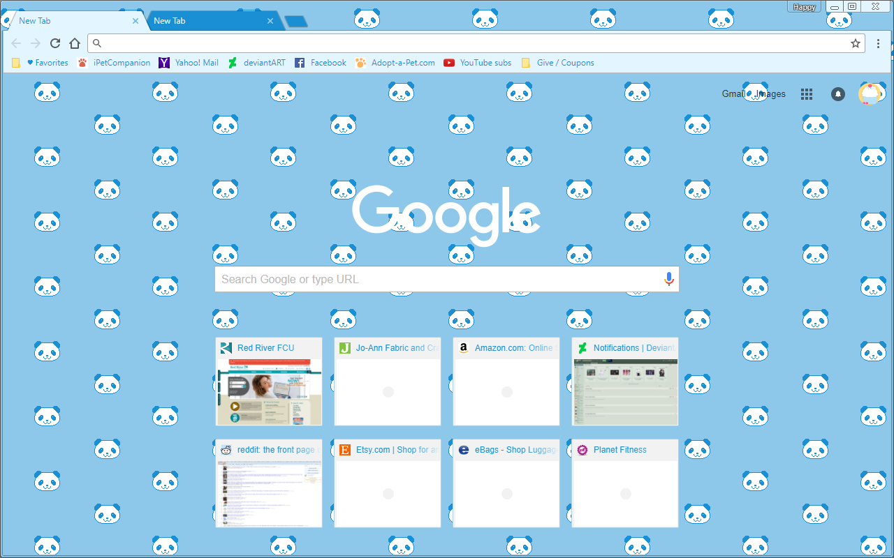 Google Chrome Theme - Cute Pixel Blue Panda Bears