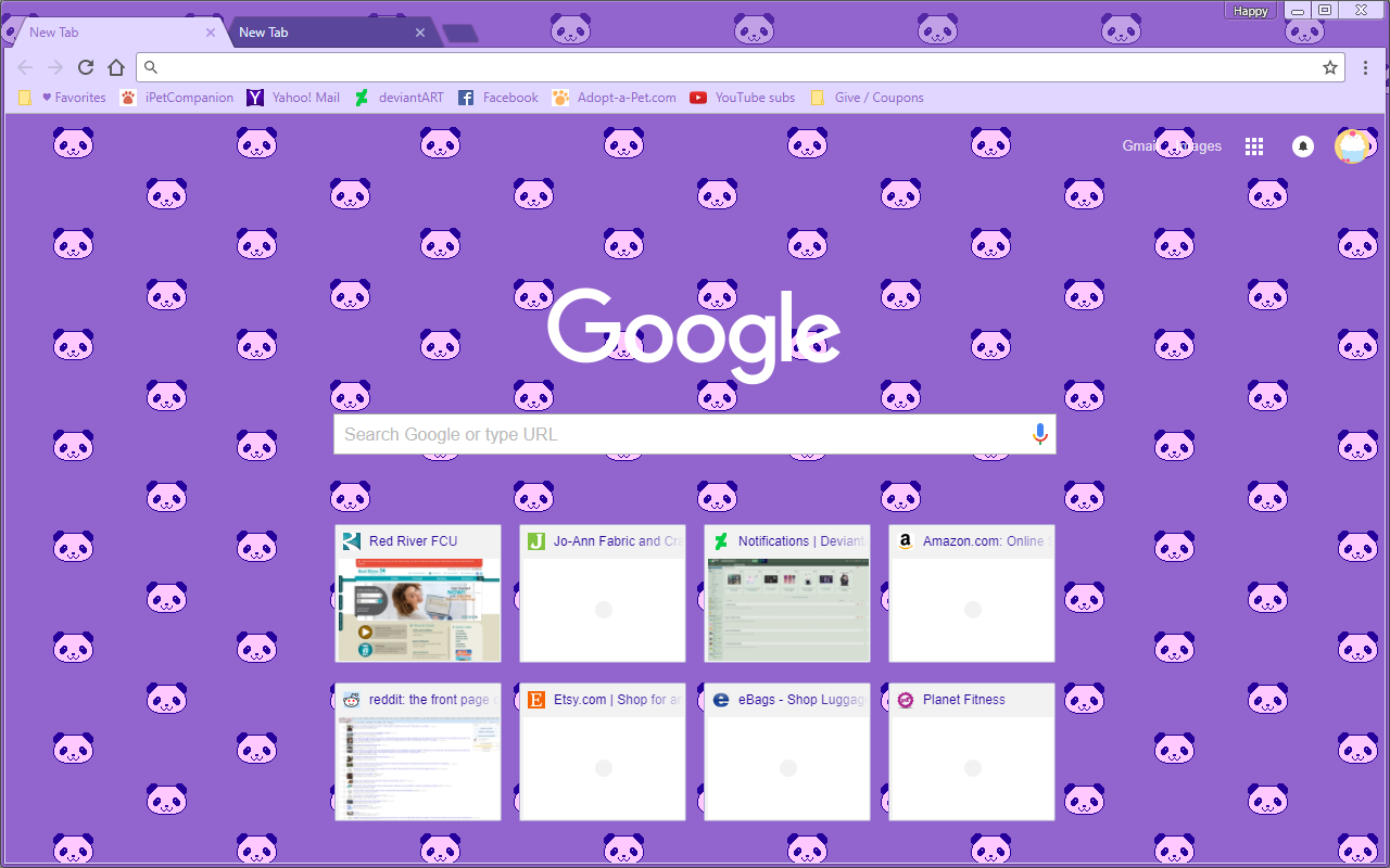 Google Chrome Theme - Pixel Purple Panda Bears
