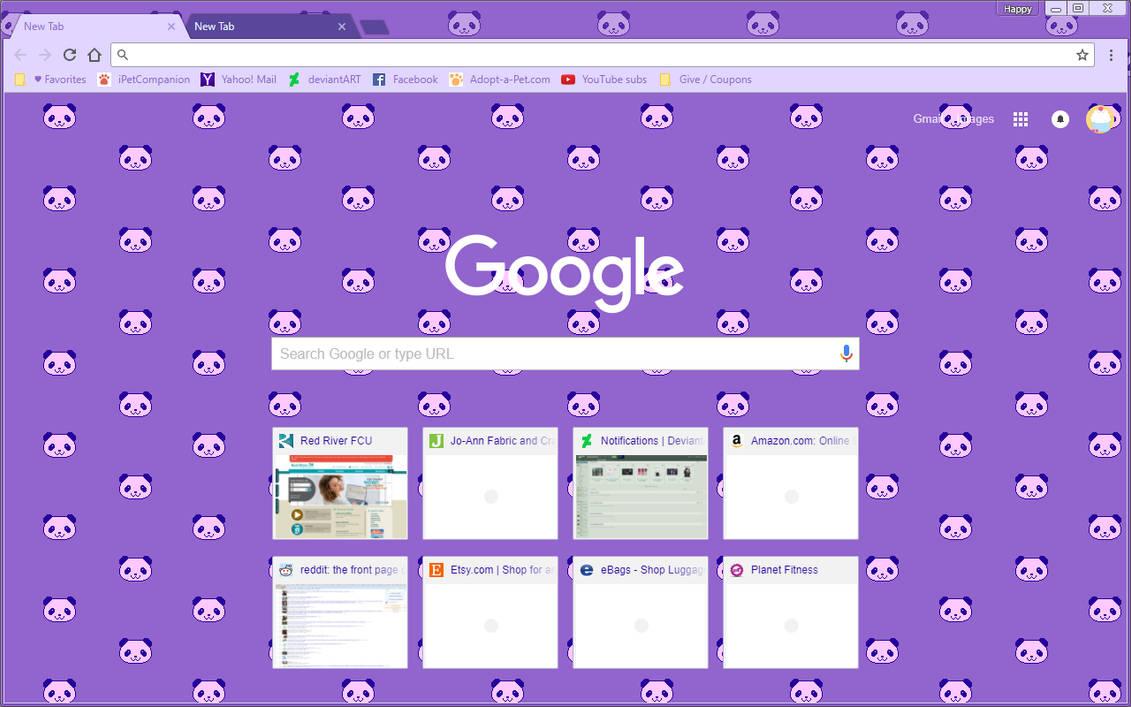 Google Chrome Theme - Pixel Purple Panda Bears by Sleepy