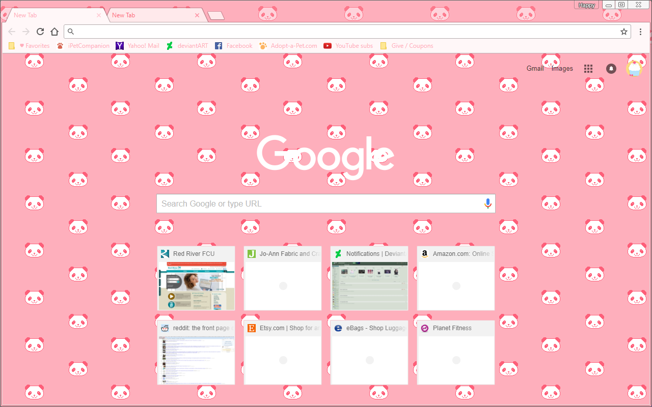 Google Chrome Theme - Cute Pixel Pink Panda Bears