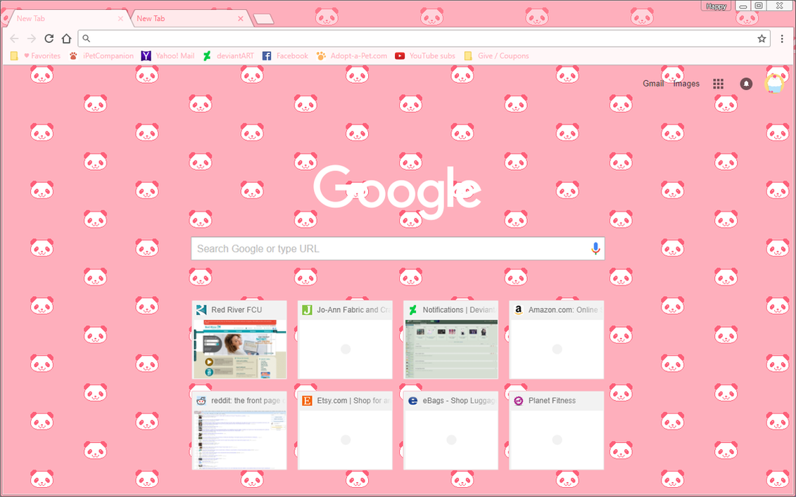 google chrome theme cute pixel pink panda bears by sleepy stardust