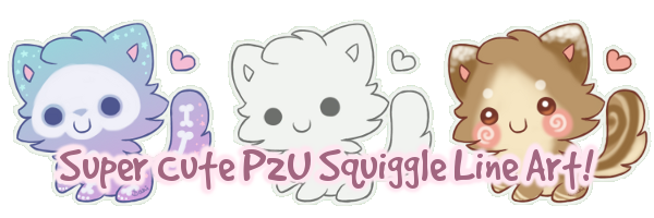 P2U Animated Squiggle Kitty Lineart by Sarilain