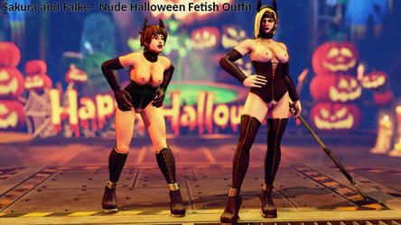 Sakura and Falke - Nude Halloween Fetish Outfits by addysun