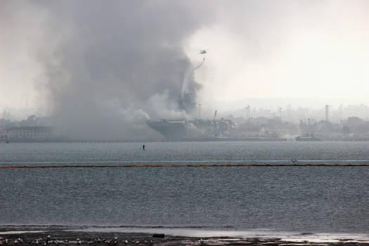 USS Bonhomme Richard on Fire