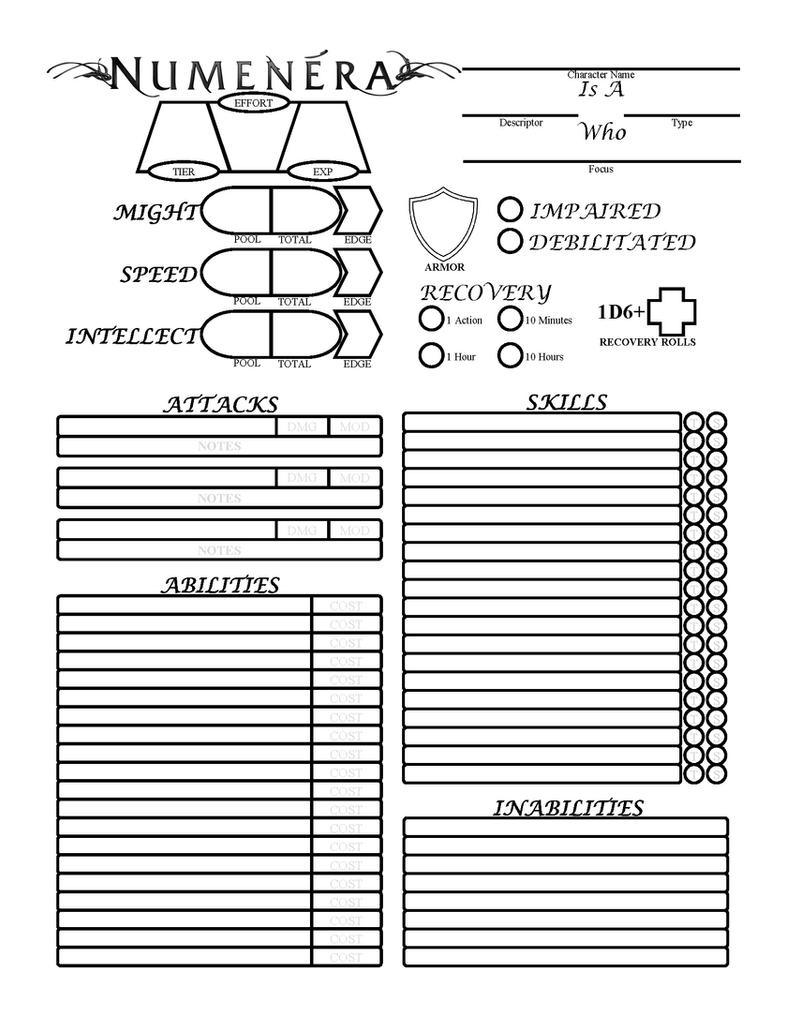 numenera form fillable character sheet
