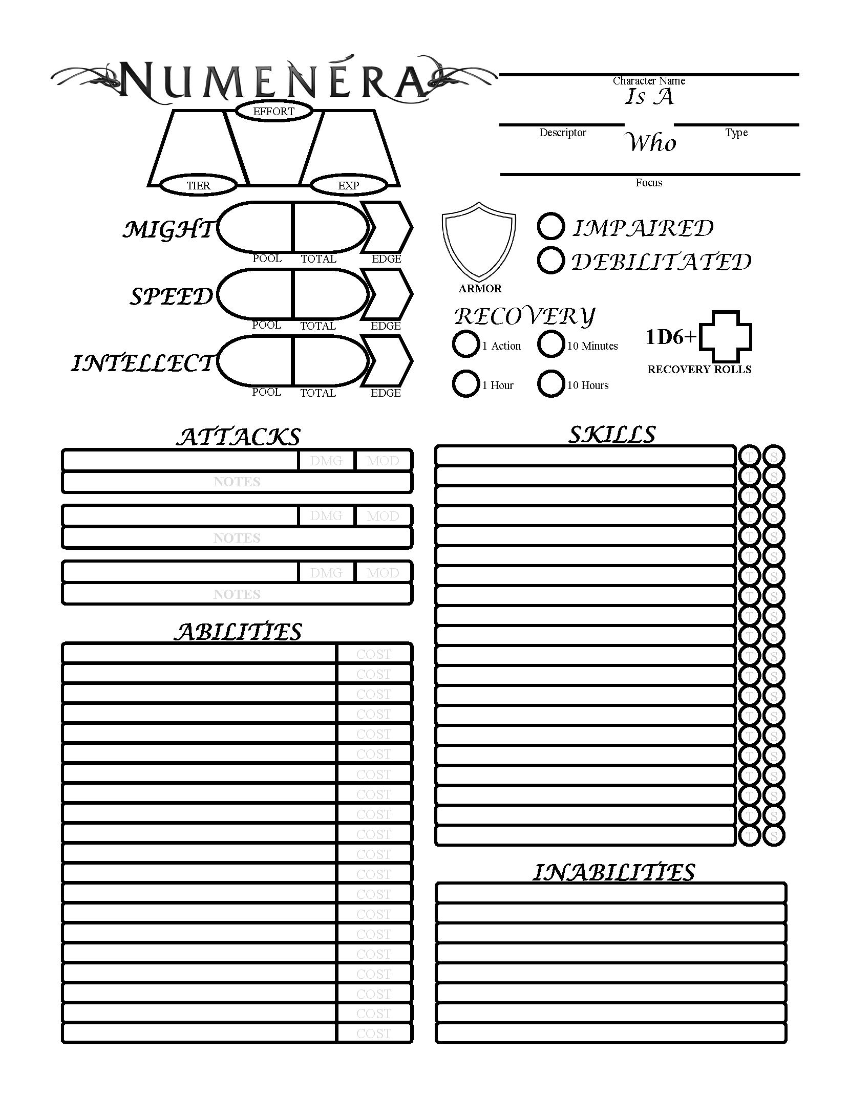 Simplistic Numenera Form-Fillable Sheet by Eavale on DeviantArt